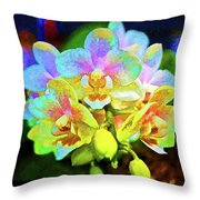 White Orchids Pastel Throw Pillow