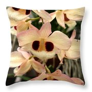 White Orchids With A Hint Of Pink Throw Pillow