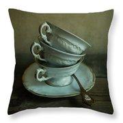 White Ornamented Teacups Throw Pillow