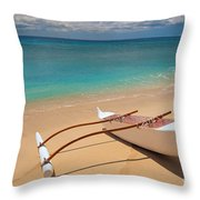 White Outrigger Canoe Throw Pillow
