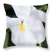 White Pansy Throw Pillow