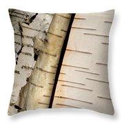 White Paper Birch Tree Bark Throw Pillow