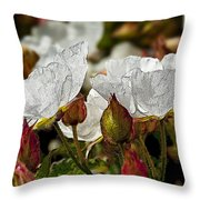 White Paper Petals Throw Pillow