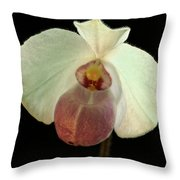 White Paphiopedium Throw Pillow