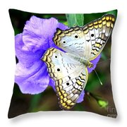 White Peacock Butterfly On Purple 2 Throw Pillow