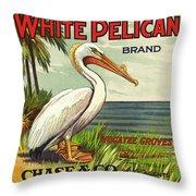 White Pelican Fruit Crate Label C. 1920 Throw Pillow
