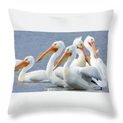 White Pelicans At Nelson Lake Throw Pillow