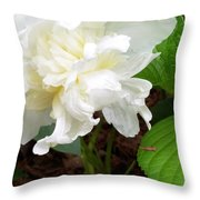 White Peonia Throw Pillow