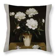 White Peonies In Cone-shaped Vase Throw Pillow