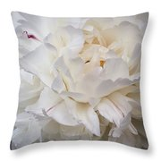White Peony Flower Throw Pillow