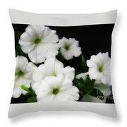 White Petunias Throw Pillow