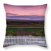 White Picket Fence Looking Over Farmland  Throw Pillow