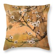White Plum Blossoms With Pine Tree Throw Pillow
