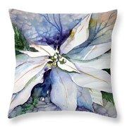 White Poinsettia Throw Pillow by Mindy Newman