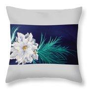 White Poinsettia On Blue Throw Pillow