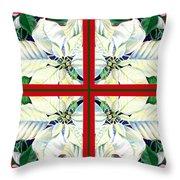 White Poinsettia Quartet Throw Pillow