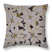 white Poinsettias Throw Pillow