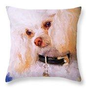 White Poodle Throw Pillow