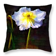 White Poppy Throw Pillow