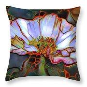 White Poppy Flower Throw Pillow