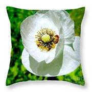 White Poppy Throw Pillow