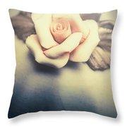 White Porcelain Rose Throw Pillow