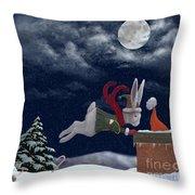White Rabbit Christmas Throw Pillow