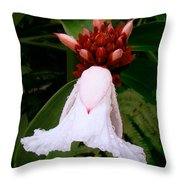 White Rainforest Flower Throw Pillow
