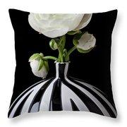 White Ranunculus In Black And White Vase Throw Pillow
