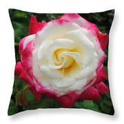 White Red Rose Throw Pillow