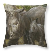 White Rhino Family - The Face That Only A Mother Could Love Throw Pillow
