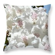 White Rhododendrons Flowers Art Prints Baslee Troutman Throw Pillow