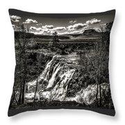 White River Falls Black  And White Throw Pillow