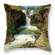 White River Falls D Throw Pillow