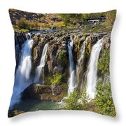 White River Falls In Tygh Valley Throw Pillow
