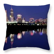White River Reflects Indy Skyline Throw Pillow