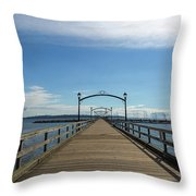 White Rock Pier Moorage In Bc Canada Throw Pillow