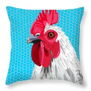 White Rooster With Blue Background Throw Pillow