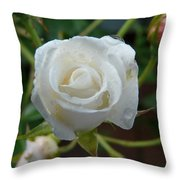 White Rose After Rain 2 Throw Pillow