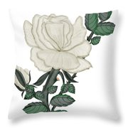 White Rose On A Winter Day Throw Pillow