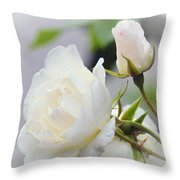 white Roses -2- Throw Pillow by Issabild -