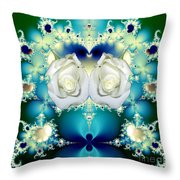 White Roses  And Blue Satin Bouquet Fractal Abstract Throw Pillow