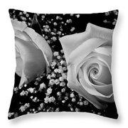 White Roses Bw Fine Art Photography Print Throw Pillow