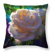 White Roses In The Garden - Backlit Flowers - Summer Rose Throw Pillow