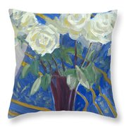 White Roses With Red And Blue Throw Pillow