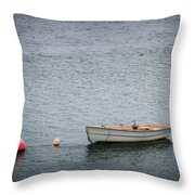 White Rowboat And Seagull Throw Pillow