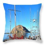 White Sail Boat Morro Rock  Throw Pillow