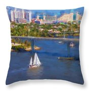 White Sailboat On The Water Throw Pillow