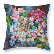 White Sakura - Floral Cherry Tree Blossom Oil Color Painting Throw Pillow