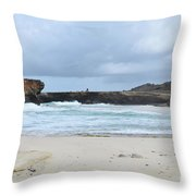 White Sand Beach And Large Rock Formations In Aruba Throw Pillow